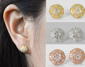 ed31ca4d0 Micro Pave Cz Diamond Disc Stud Earrings - Silver Pave Disc Earrings - 14k Gold  Circle Studs - Bridesmaid Gift Anniversary Gift Set PCS124