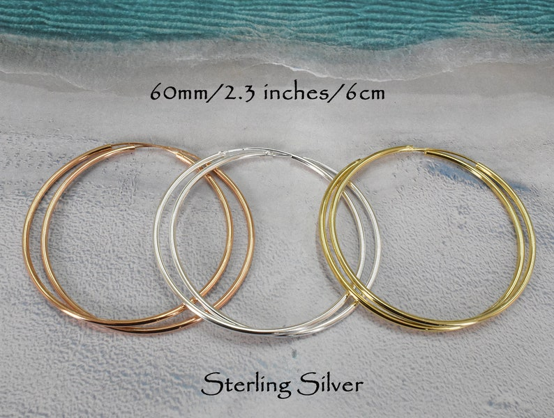 d6b207ec73dd5 925 Sterling Silver 60mm Hoop Earrings ONE PAIR - 2.3 inches hoop - Large  Hoop - Big Size Hoop - Gold Hoop Earrings - Classic Hoops PCH29