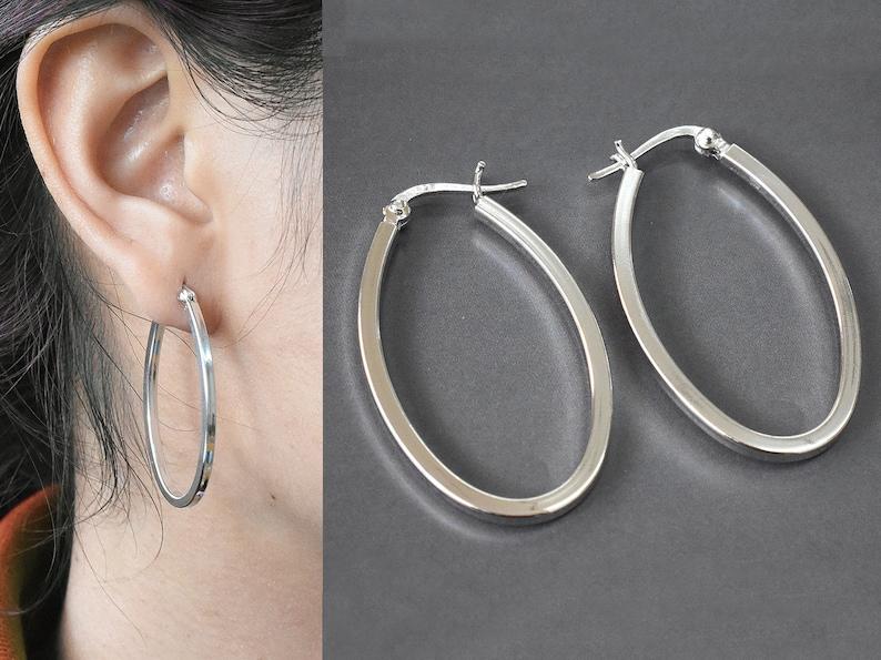 664d74af726dbb 925 Sterling Silver Oval Hoop Earrings Long Hoop Earring | Etsy