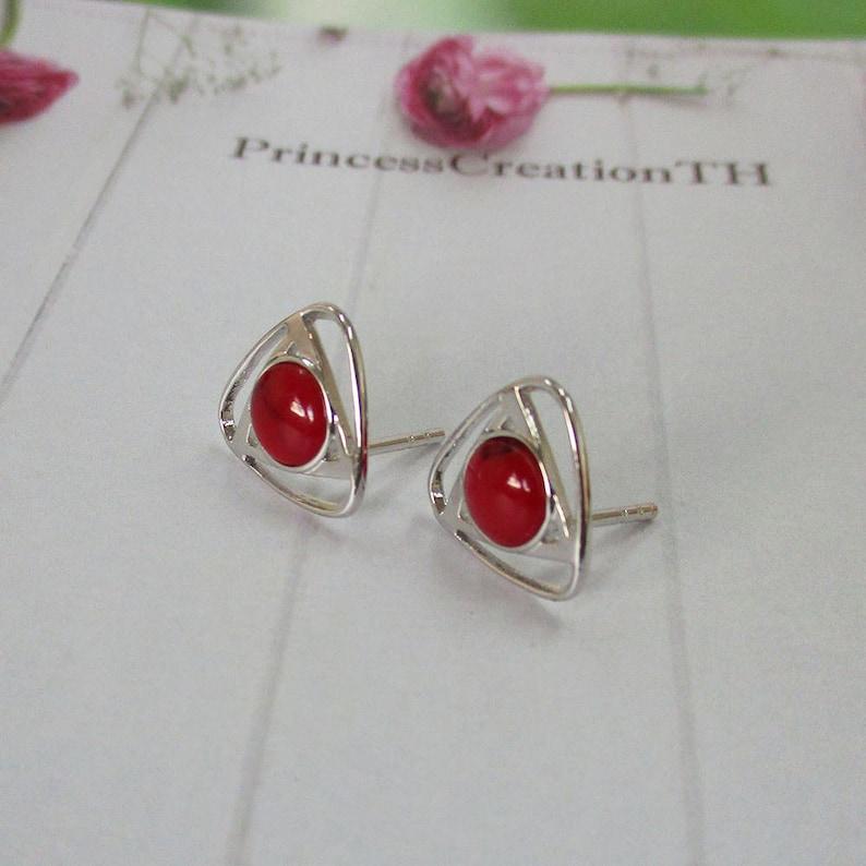 12mm Post Earring PCS07 Triangle Post Earring Cabochon Earrings Stud Sterling Silver Post Earring Red Jasper Earring Sterling Silver