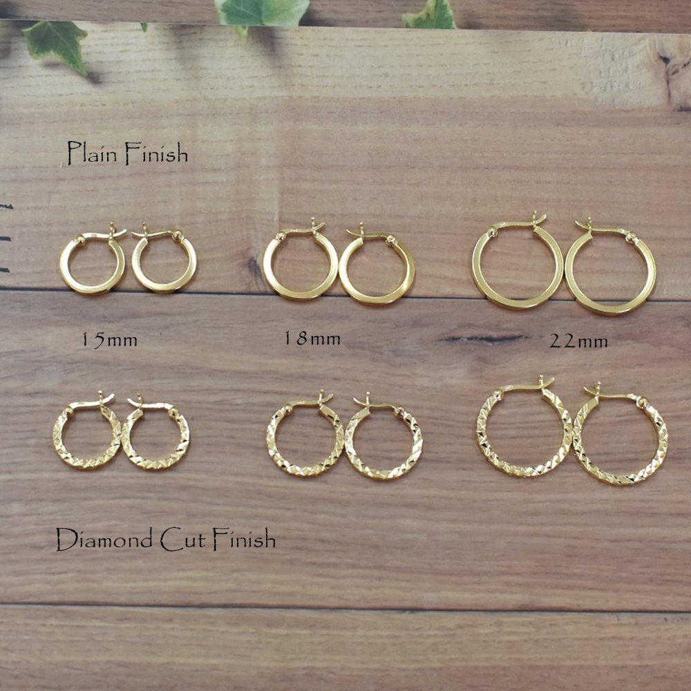 Fine Jewelry 14kt Yellow Gold Diamond-cut Princess Square Tube Endless Hoop Earrings Jewelry & Watches