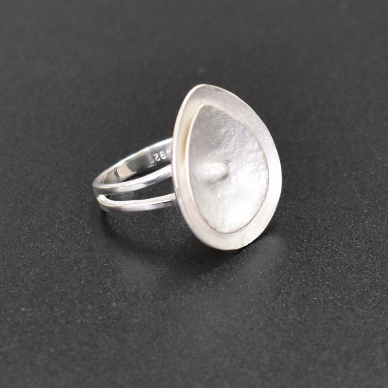 Sterling Silver Organic Ring 925 Silver Rich Polish Ring Unique Ring-  PCR49 Pear Silver Ring Boho Gift Plain Silver Statement Ring