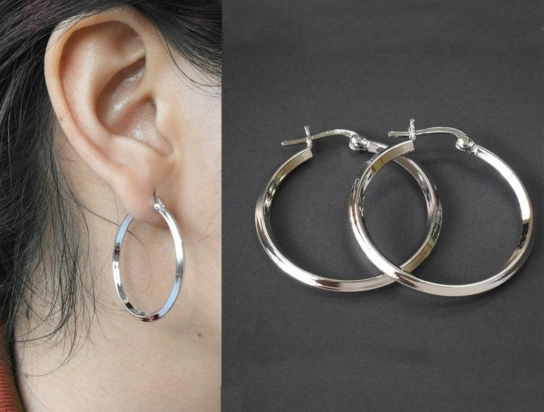 bfac3181405f3b 925 Sterling Silver Hoop Earrings Latch Back Hoop Earrings | Etsy
