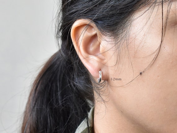 10mm Silver Hoop Earring Sterling Silver Thin Hoop Tiny  7e97eb46d8a4