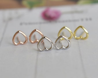 Silver Heart Outline Stud Earring - 8mm Heart Earring 925 Silver 14k Gold Plated- Earring For Her - Everyday Earring  Minimalist Stud PCS40