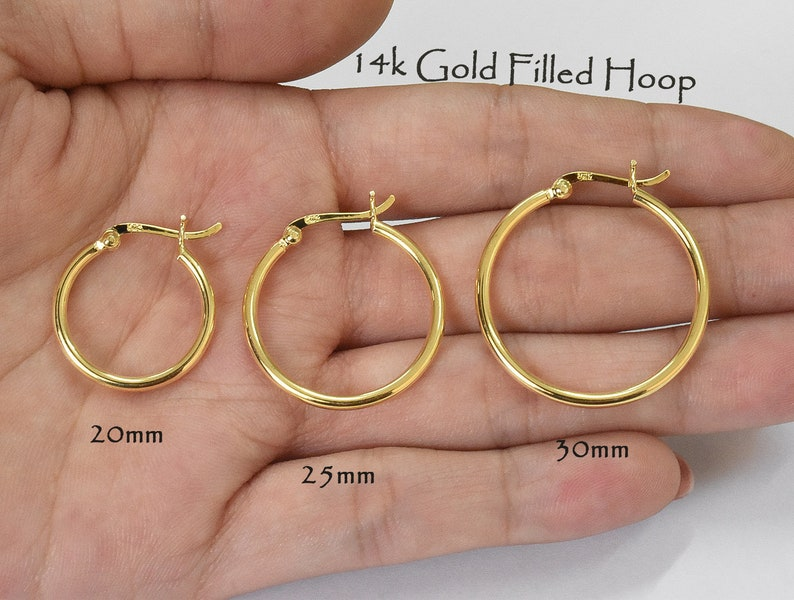 0a9918455 14k Gold Filled 2mm Tube Hoop Earrings Medium Size | Etsy
