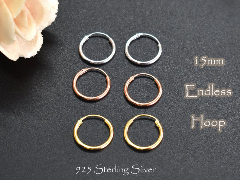 149e8283e1283 15mm Endless Hoop Earring - 925 Sterling Silver Hoop Earring - Rose Gold  Hoop- Small Gold Hoop -Thin Tiny Hoop Earring- Textured Hoop PCH04