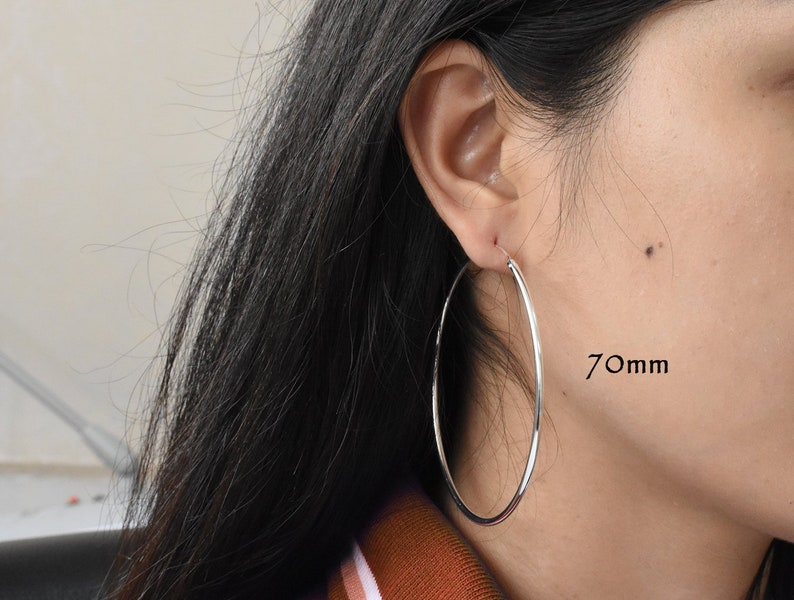 09c7a593b6171 Big Silver Hoop Earring Pair - Thin 2mm Tube Thickness - Heavy Gold Plated  Hoops 60mm 70mm Huge Hoop Earring - Jumbo Hoops- Big Hoops PCH77