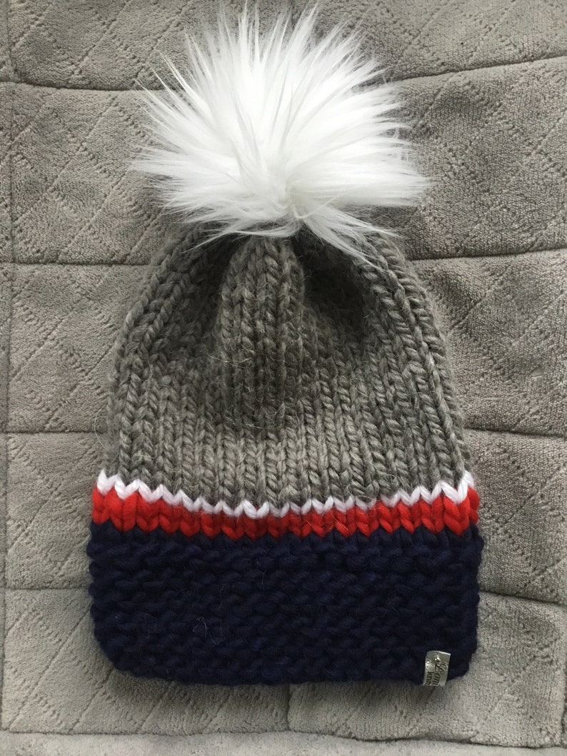 628defc1 New England Patriots Hand Knit Hats - One of a Kind Pats hat - with  fabulous pom pom....get ready for the PLAYOFFS!! (FREE SHIPPING)
