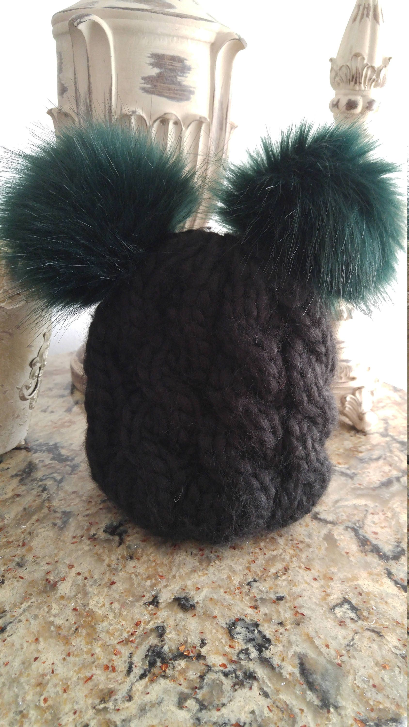 791f0900 Baby EAGLES Hat! Twice the fun - Double the trouble - with this Luxury Hand  Knit Eagles Hat - and not just 1 but 2 Pom Poms!