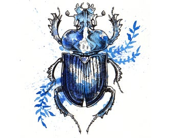 Blue Beetle Insect - Framed Original Art - Ink & Watercolor