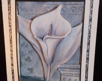 3D gray flower sympathy card