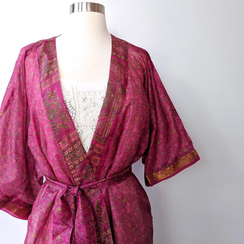 ce03d56294e892 Hot Pink Kimono Pink Floral Kimono Robe Silk Kimono Wrap | Etsy