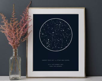 Custom Star Map Printable | Personalized Sky Map Print | Night Sky Print Digital Download | Constellation Wall Art Personalized Gift