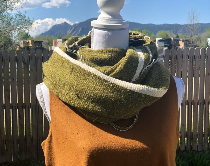 Green and Cream Wool and Silk Infinity Scarf