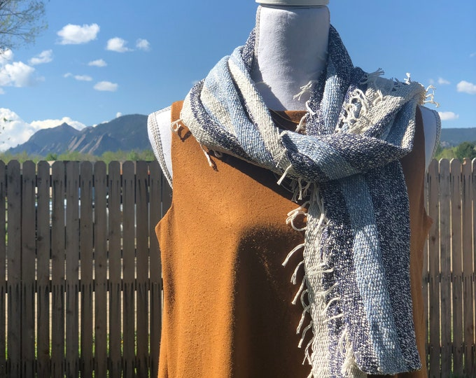 Blue Cotton and Linen Scarf/Runner