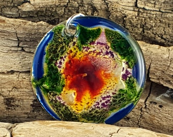 Beautiful multi color and depth artistic mixed media hand painted pendant