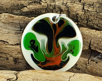 Multi color artistic mixed media hand painted pendant