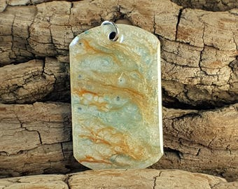 Beige psychedelic artistic pearl mixed media hand painted dog tag pendant