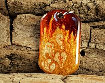 Orange and gold fire mixed media hand painted dog tag pendant