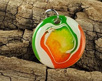 Irish orange white and green multi depth artistic mixed media hand painted pendant