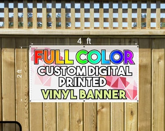 Custom Printed  Vinyl Banner 2x4 Single Sided with Grommets  - Personalized Banner