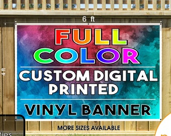 Custom Printed  Vinyl Banner 4x6 Single Sided with Grommets  - Personalized Banner