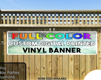 Custom Printed  Vinyl Banner 2x8 Single Sided with Grommets  - Personalized Banner