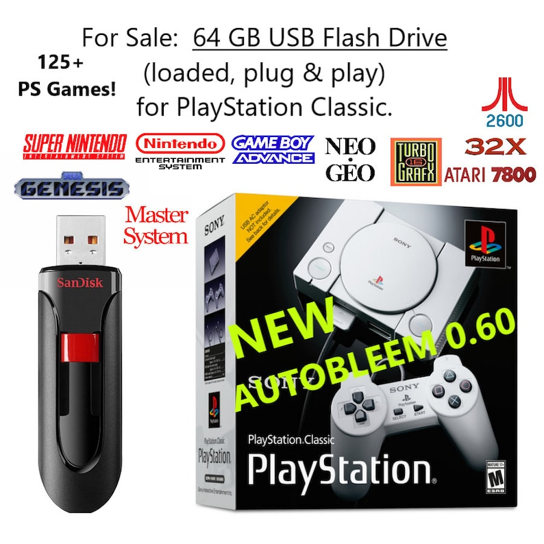 64 GB Flash Drive for PlayStation Classic - Adds 125+ PlayStation games +  4,750 others! - Plug & Play (new Autobleem), SNES, NES, Sega, gba