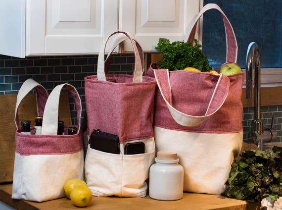 Toile de sac d'épicerie - Extra Large - réversible