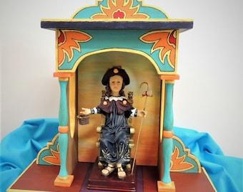 "Original, Handmade Nicho/Ofrenda/Shrine, imported Santo Nino de Atocha statue, Table Top or Wall Hanging, 13.75""High X 13""Wide X 5.25"" Deep"