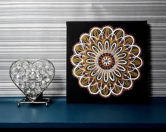 Mandala Canvas Golden Wall Hanging / Room Decor