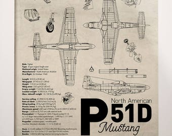 P-51D Mustang Airplane Aviation A3 Poster