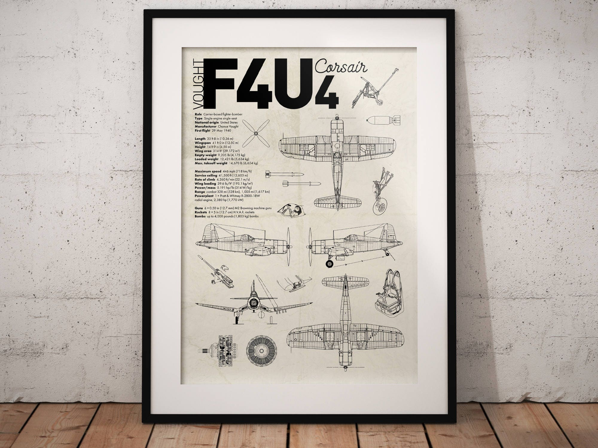 lDOWNLOADl Vought F4U Corsair Airplane Aviation A3 Poster