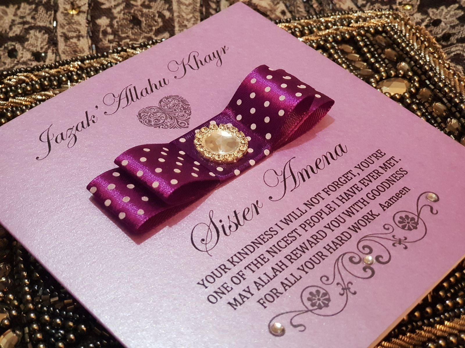 Personalised Handmade JazakAllah Thank you Muslim Islamic Card | Etsy