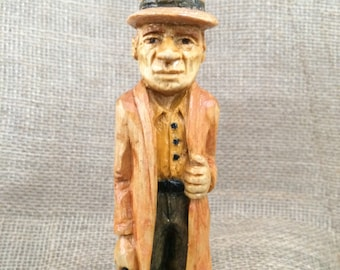 hand carved, wood, 1940's Gangster