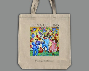 Dancing with chickens- Natural canvas heavy duty tote bag with gusset