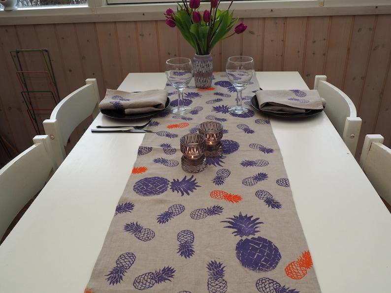 table runner linen napkins printed table runner pineapple decor dining room decor Runner and napkins table linen block-print decor