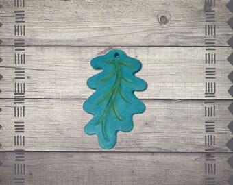 Teal Leaf Pendant