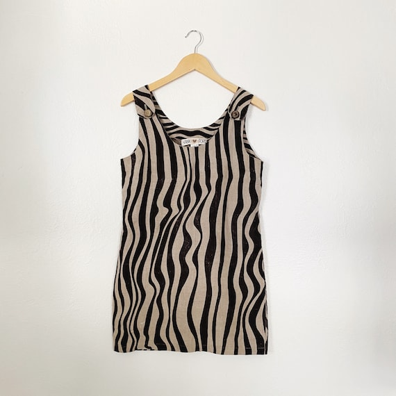 90s Linen Zebra Print Overalls Dress | Small