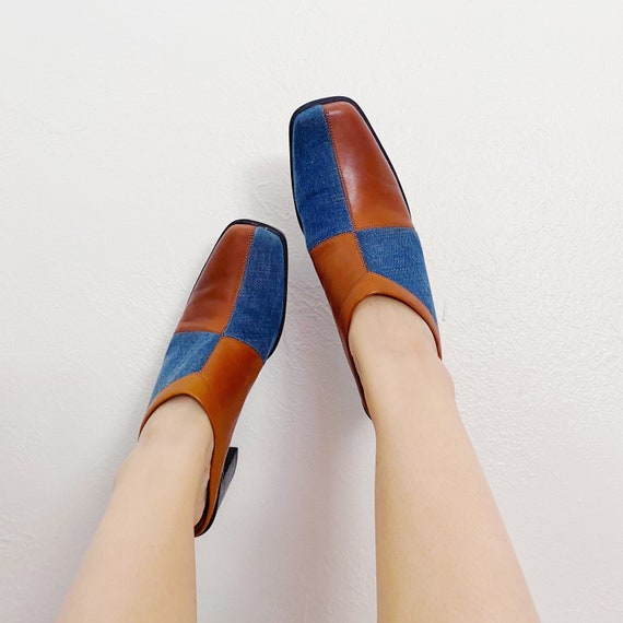 90s Denim and Tan Leather Patchwork Square Toe Mu… - image 1