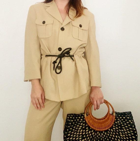 90s Olive Tan Cargo Safari Pant Suit | Medium