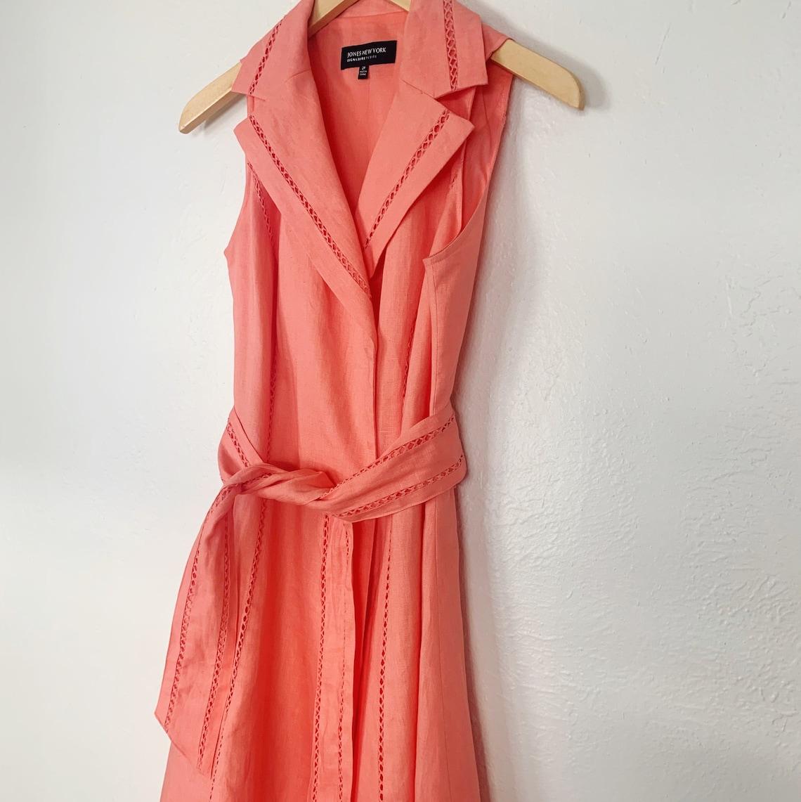 90s Jones New York Peachy Coral Linen Wrap Dress  Small