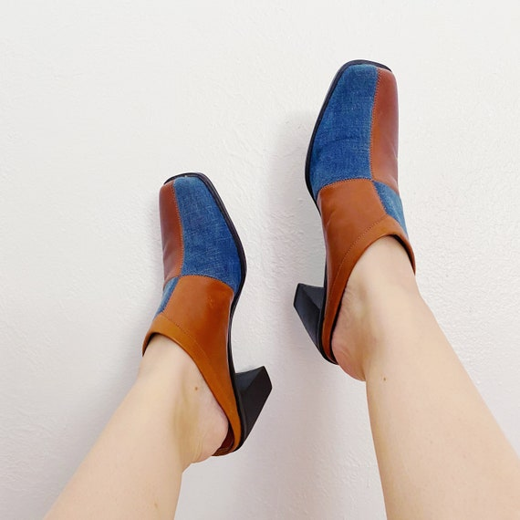 90s Denim and Tan Leather Patchwork Square Toe Mu… - image 2