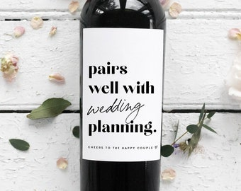 Engagement Gifts for Her, Engagement Gift Ideas, Engagement Party Gifts, Wedding Planning, Fiance, Wine Labels, Wine Bottle, Black White
