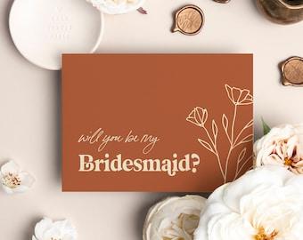 Bridesmaid Proposal Card, Will You Be My Bridesmaid, Maid of Honor, Bridesmaid Gift, Rust, Terracotta, Boho Wedding, Box, Bridesmaid Gift