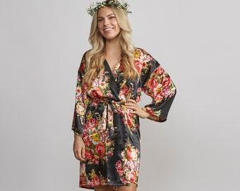 Bridesmaid Robes, Black Silk Robe, Wedding Robes, Bridesmaid Robes Set, Bridesmaids Gift, Plus Size (Small Floral Print)