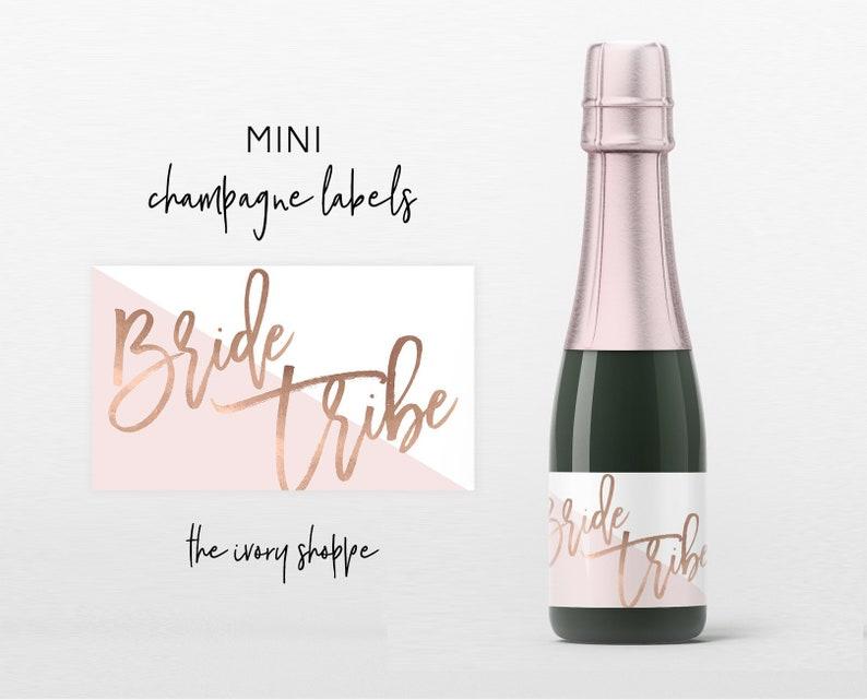 Bridesmaid Rose Gold Bride Tribe Bridesmaid Gift Champagne Labels Mini Bridesmaid Proposal