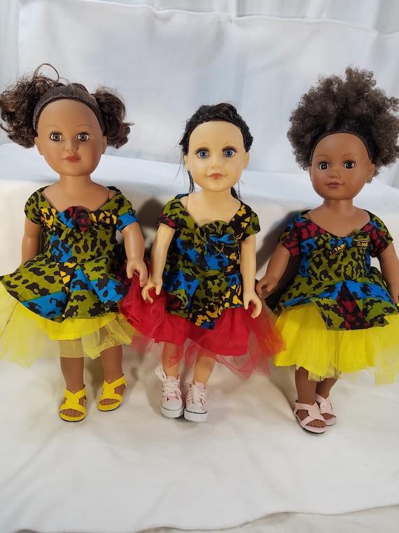 "18/"" Doll Outfit  African-American Ankara Kente// Ketenge //Yellow Tulle Dress Toys"