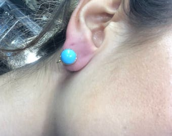 Antique 9ct Solid Gold Turquoise Earrings